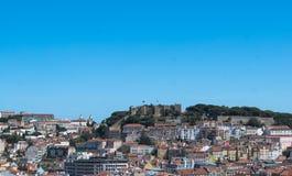 Flyg- sikt av Lissabon, Alfama, Portugal Arkivfoton