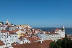 Flyg- sikt av Lissabon, Alfama, Portugal Arkivfoto