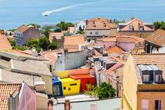 Flyg- sikt av Lissabon, Portugal Arkivbilder
