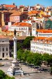 Flyg- sikt av Lissabon, Portugal Royaltyfri Foto
