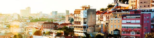 Flyg- sikt av Lissabon, Portugal i den soliga morgonen 3d framför illustrationen Arkivfoto