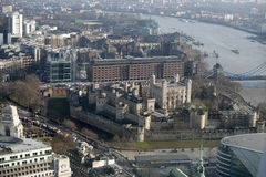 Flyg- sikt av London från den Walkie Talkiebyggnaden på gatan för 20 Fenchurch Royaltyfria Bilder