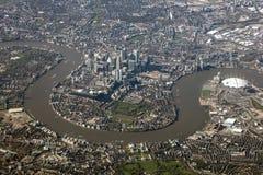 Flyg- sikt av London, Förenade kungariket Arkivfoto