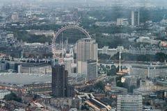 Flyg- sikt av London horisont på natten, London Royaltyfria Foton