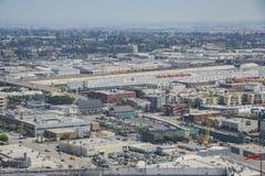 Flyg- sikt av Los Angeles cityscape Fotografering för Bildbyråer