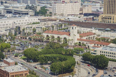 Flyg- sikt av Los Angeles cityscape Royaltyfri Foto