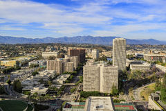 Flyg- sikt av Los Angeles i stadens centrum cityscape Arkivbild