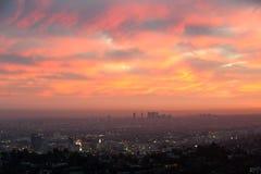 Flyg- sikt av Los Angeles och Santa Monica Arkivfoto