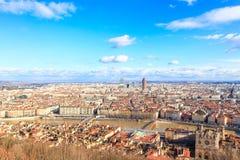 Flyg- sikt av Lyon den gamla staden, Frankrike Royaltyfria Foton