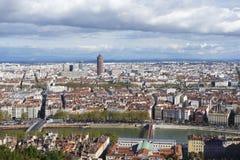 Flyg- sikt av Lyon från den Fourviere kullen arkivfoton
