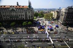 Flyg- sikt av mållinjen av den Belgrade maraton Fotografering för Bildbyråer