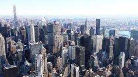Flyg- sikt av manhattan/den flyg- sikten av skyskraporna av midtownen Manhattan New York City royaltyfria bilder