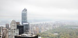 Flyg- sikt av Manhattan tak Arkivbild