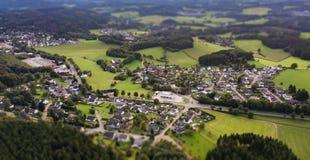 Flyg- sikt av Marienheide - Kalsbach arkivfoton