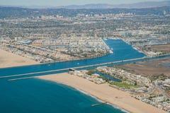 Flyg- sikt av Marina Del Rey och Playa Del Rey Royaltyfri Fotografi