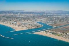 Flyg- sikt av Marina Del Rey och Playa Del Rey fotografering för bildbyråer