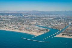 Flyg- sikt av Marina Del Rey och Playa Del Rey Arkivbilder