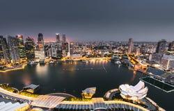 Flyg- sikt av marinafjärden av den singapore staden Royaltyfria Foton