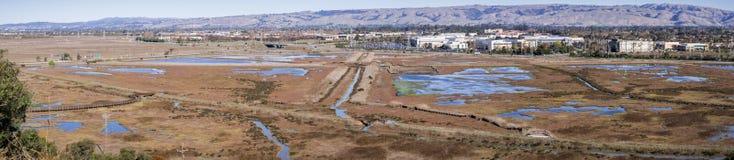 Flyg- sikt av marsklan i Don Edwards Wildlife Refuge, kontorsbyggnader i bakgrunden; San Francisco Bay område, Fremont, arkivbilder