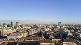 Flyg- sikt av mitten av Milan, panoramautsikt av Milan, östlig sida Fotografering för Bildbyråer