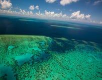 Flyg- sikt av Moore Reef på den yttre stora barriärrevet Fotografering för Bildbyråer