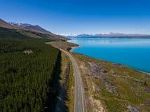 Flyg- sikt av Mt-kocken Landscape, Nya Zeeland Royaltyfria Bilder