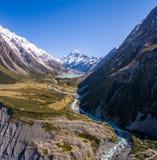 Flyg- sikt av Mt-kocken Landscape, Nya Zeeland Royaltyfri Bild