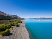 Flyg- sikt av Mt-kocken Landscape, Nya Zeeland Arkivfoton