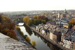 Flyg- sikt av Namur, Belgien, Europa Arkivbild
