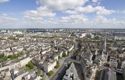 Flyg- sikt av Nantes (Frankrike) arkivbild