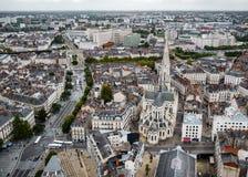Flyg- sikt av Nantes, Frankrike Arkivbilder
