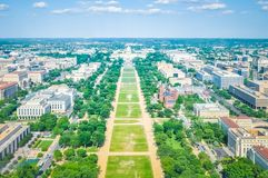Flyg- sikt av National Mall med Kapitoliumbyggnaden i Washington DC USA arkivbild