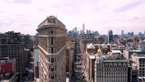 Flyg- sikt av New York, Midtown Manhattan flatiron Residental och affärsbyggnader från över stock video