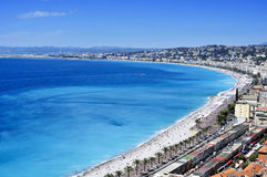 Flyg- sikt av Nice, Frankrike och medelhavet Arkivfoton