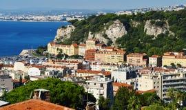 Flyg- sikt av Nice på franska Riviera Fotografering för Bildbyråer
