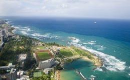 Flyg- sikt av nordliga Puerto Rico Arkivfoton
