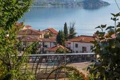 Flyg- sikt av Ohrid Arkivfoton