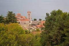 Flyg- sikt av Ohrid Arkivfoto