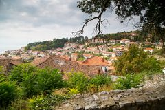 Flyg- sikt av Ohrid Arkivbilder