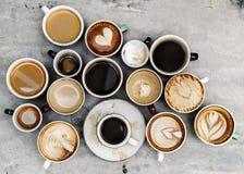 Flyg- sikt av olikt kaffe arkivbild