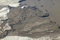 Flyg- sikt av olje- sander, Alberta, Kanada Royaltyfria Bilder