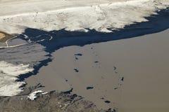 Flyg- sikt av olje- sander, Alberta, Kanada Royaltyfri Foto