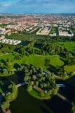 Flyg- sikt av Olympiapark bavaria germany munich arkivfoto