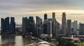 Flyg- sikt av området för central affär, Singapore arkivfoton
