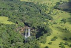 Flyg- sikt av `-Opaeka ` nedgångar, Kauai, Hawaii Arkivfoto