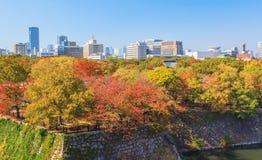 Flyg- sikt av Osaka cityscape Arkivfoto