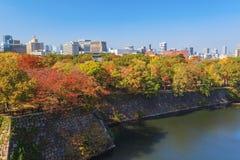 Flyg- sikt av Osaka cityscape i höstsäsong på Osaka Arkivbilder