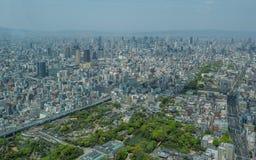 Flyg- sikt av Osaka horisont Royaltyfri Bild