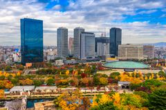 Flyg- sikt av Osaka, Japan Royaltyfri Bild