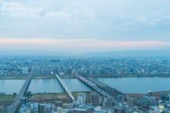 Flyg- sikt av Osaka Japan Royaltyfri Fotografi
